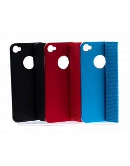 Carcasa protectie spate aluminiu + suport magnetic pentru Iphone 4/4S - albastra